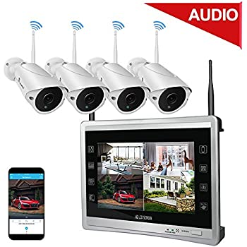 "Luowice Audio Wireless Security Camera System with 11"" Monitor 960p 4CH Home Video Surveillance System Built in 1TB Hard Drive Indoor and Outdoor Waterproof ..."