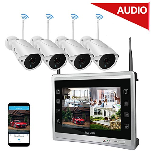 "Lcd Video Monitor Surveillance Screen - Luowice Audio Wireless Security Camera System with 11"" Monitor 960p 4CH Home Video Surveillance System Built in 1TB Hard Drive Indoor and Outdoor Waterproof HD CCTV Wifi Cameras with IR Night Vision"