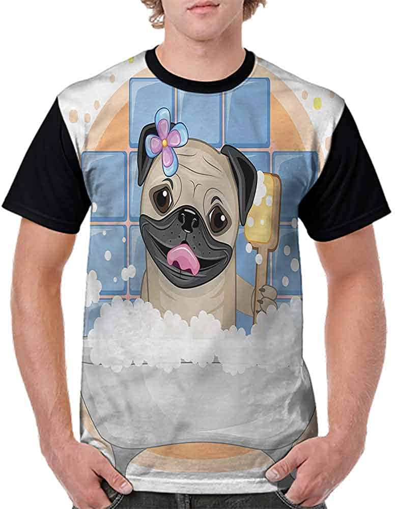 Fashion T-Shirt,Dog Bath Caricature Funny Fashion Personality Customization