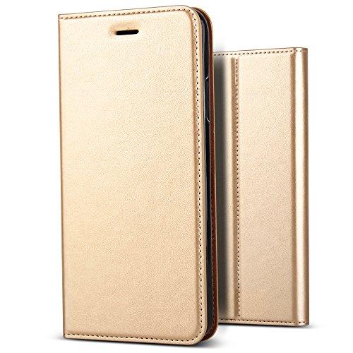 iPhone 7 Plus Case, BELK[Simple Retro Style]Handmade Soft Leather Flip Folio Slim Wallet Cover Case[Magnetic Closure][Credit Card Slot][TPU Bumper][Kickstand] For iPhone 7 Plus 5.5 Inch – Golden