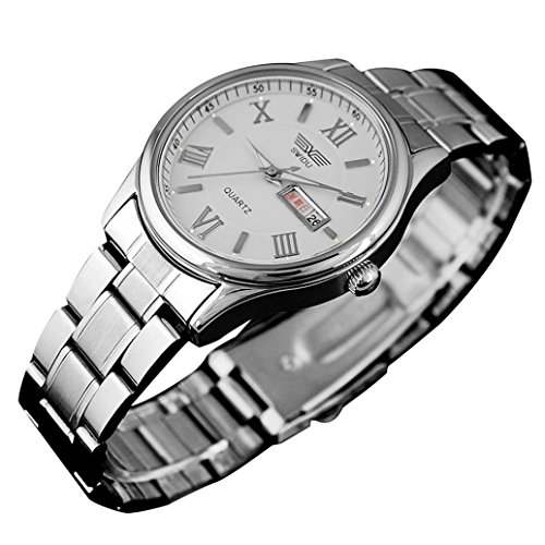 Price comparison product image Watches for Men On Sale! Paymenow Luxury Watch Calendar Stainless Steel Band Analog Quartz Wrist Watch Classic Business Watches (White)