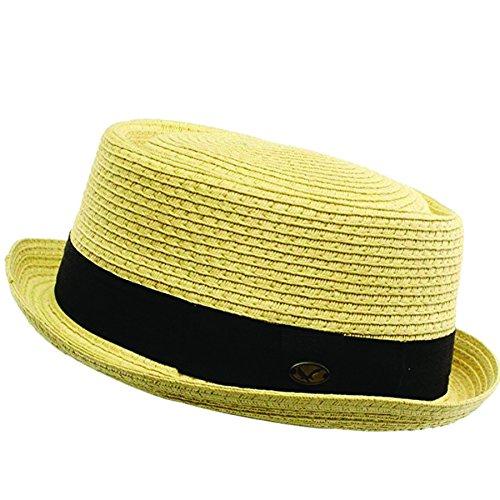Men's Cool Summer Straw Pork Pie Derby Fedora Upturn Brim Hat (L/XL, NATURAL)