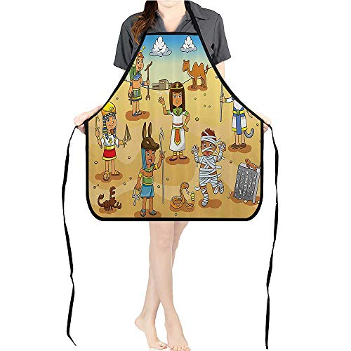 Jiahong Pan Men and Women Kitchen Apron Historical Egyptian Characters with Pyramids Cleopatra King Mummy for Cooking, Baking, Crafting, Gardening, BBQK26.6xG27.6xB10.2 -