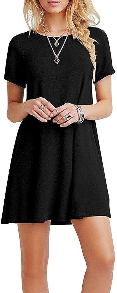 Farchat Vestidos Mujer Suelto Casual de la Camiseta Cuello Redondo Vestido