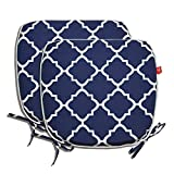 PacifiCasual Indoor/Outdoor All Weather Chair Pads 17'' X 16'' Seat Cushions Garden Patio Home Chair Cushions, Set of 2 (Navy Blue)