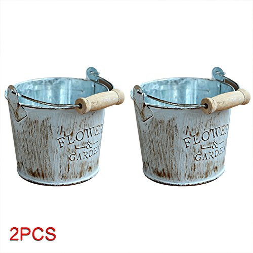 US-PopTrading Vintage Iron Flower Pot Buckets, Household Chic Metal Crafts Hemp Cord Lace Twined Succulent Plants Storage Vases Fits for Livingroom Balconies and Vegetable Garden (Lace Pitcher)