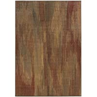 Style Haven Faded Impressions Abstract Brown/Gold Area Rug (53 x 76)