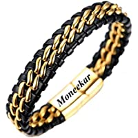 Moneekar Jewels Black and Golden Leather Titanium Bracelet (8.07-inch) with Jewellery Box for Men