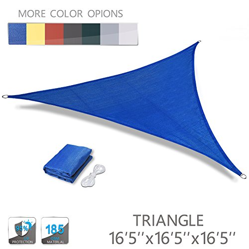 (Love Story 16'5'' x 16'5'' x 16'5'' Triangle Blue UV Block Sun Shade Sail Perfect for Outdoor Patio Garden )