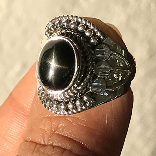 Art Deco Genuine Black Star Diopside 925 Solid Sterling Silver Designer Ring sz 5.25, 7.5, (Designer Diopside Ring)