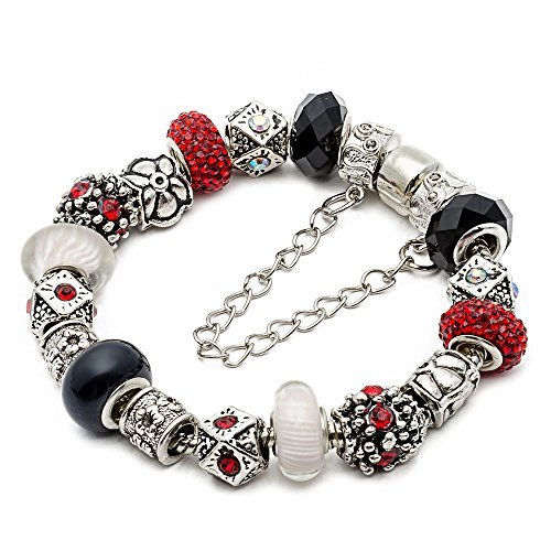 "RUBYCA Silver Tone European Charm Bracelet 7.9"" Black & Red Murano Glass Beads Jewelry Making Kit 2"