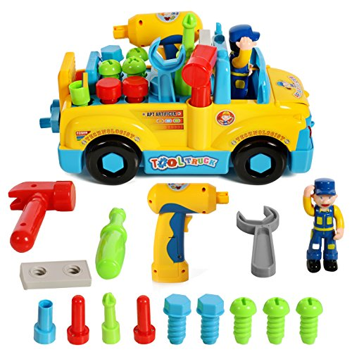 (IQ Toys Multifunctional Take Apart Toy Tool Truck with Tools and Electric Drill)