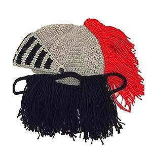 54ac89ee6f1 BIBITIME Cosplay Roman Knight Knitted Helmet with Beard Tassel Hat ...