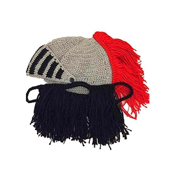 9c526b3d2 BIBITIME Cosplay Roman Knight Knitted Helmet with Beard Tassel Hat Visor  Beanie Mask Winter Ski Sports Warmer Cap