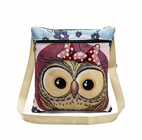 Tefamore Owl Package Embroidered Handbags Tote B Women Postman PPpHqr