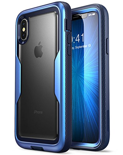 i-Blason iPhone X Case, iPhone Xs Case [Heavy Duty Protection] [Clear Back] [Magma Series] Shock Reduction/Full Body Bumper Case with Built-in Screen Protector for Apple iPhone X/iPhone Xs (Blue)