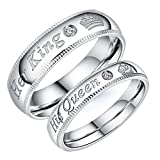 Fashion Ahead 2pcs Silver Matching Couple Wedding Rings Set His Queen Her King Stainless Steel Engagement Promise Ring Anniversary Band Couple Jewelry Gifts