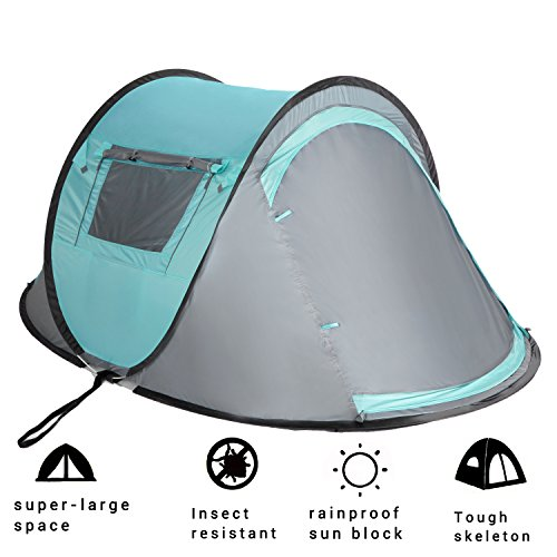 Vitchelo 2 Person Instant Automatic Pop Up Cabin Tent Water Rain Proof Ultralight Quick Easy Set Up Dome Tents with 2 Doors Windows Mosquito Netting for Kids & Adults Outdoor Camping Backpacking -