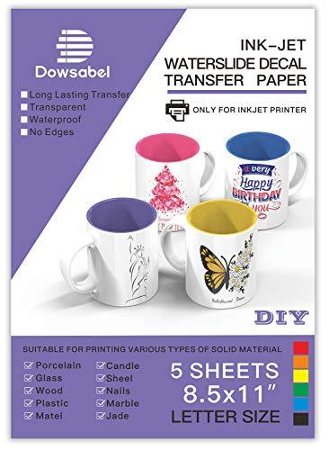 Water Slide Decal Paper for Inkjet Printer, Premium Clear Transparent Printable Waterslide Transfer Paper for Tumblers, Mugs, Glasses DIY, 8.5 x 11 inches, 5 Sheets