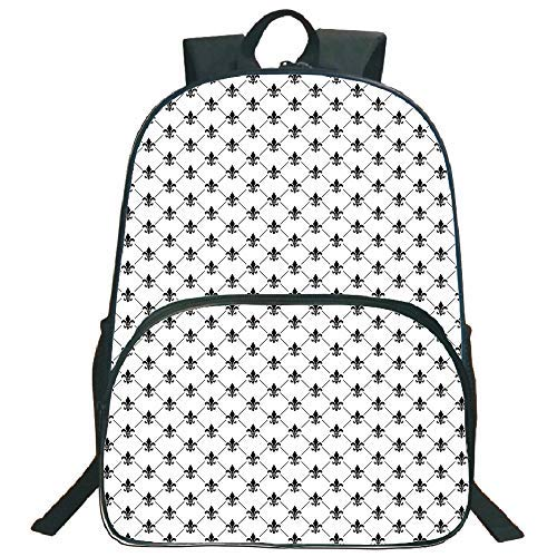 Fleur De Lis Classic Wallet - Lionkin8 Circular Front School Bag Backpack, Fleur De Lis, French Damask Composition Monochrome Pattern Royal Classic Insignia Motif, Black White, for Boys and Girls