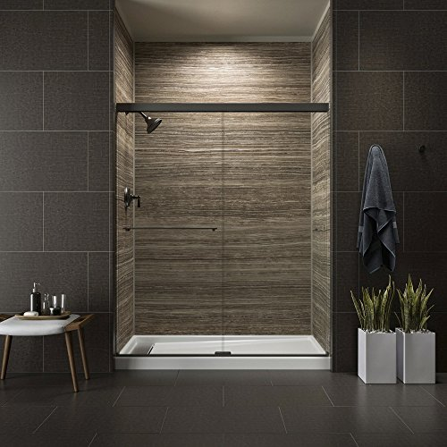 KOHLER K-707201-L-ABZ Revel Sliding Shower Door with 5 16 Thick Crystal Clear Glass, 70 x 56-5 8 x 59-5 8 , Anodized Dark Bronze