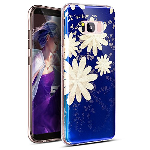 Galaxy S8 Plus Case,Galaxy S8 Plus Cover,ikasus Art Painted Roses Flowers Pattern Sparkly Shiny Glitter Bling Plated Blue Light Soft Silicone Rubber TPU Bumper Case Cover for Galaxy S8 Plus,Daisy ()