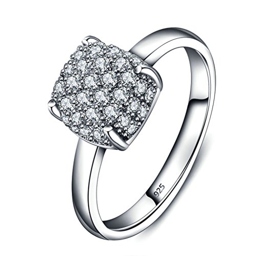 925 Sterling Silver Ring, Women's Wedding Bands Silver Solitaire Micro Inlaid CZ Bridal Size 7 - In Outlet Edinburgh