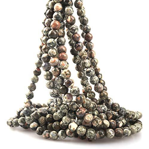 (ICAI Beads 8mm Natural Kambaba Jasper Gemstone Round Loose Stone Beads for Jewelry Making DIY Crafts Design 1 Strand 15