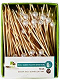 PackNWood 209BBBIJ9 Bijou Bamboo Pick with White Pearl - 3.5'' - 2000 per case