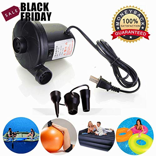 Pump Electric Inflation Fill 120vac (Electric Air Pump for Inflatable Floats,Portable Deflating Air Mattress Pump to Blow Up Bed Pool Toy Raft Deflates Inflates 110-120 Volt,Ac Quick-Fill Inflator Deflator, Electrical Air Bed Pump)