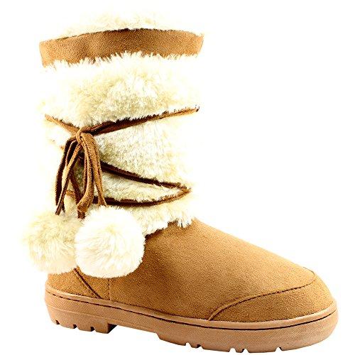 allineato 7 invernale pelliccia Boots Pom impermeabile Completamente Pom Tan Snow Womens SqwavBHn