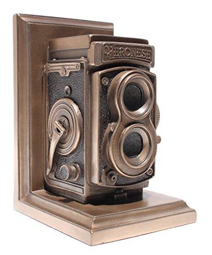 Vintage Camera Bookend, Single Bookend, Statue Cold Cast Bronze