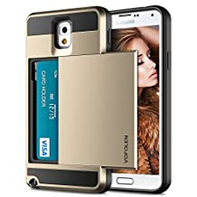 Galaxy Note 3 Case, Vofolen Galaxy Note 3 Wallet Cover Carrying Case Armor Slim Fit Protective Shell Hard PC Case + Soft TPU Bumper Cover with Card Holder Slot for Samsung Galaxy Note 3 (Gold)