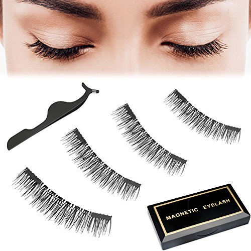 Moolia Magnetic Eyelashes, Reusable No Glue 3D Natural Look False Fake Lashes with Applicator, Double Magnets Ultra-Thin and Full Eye Lightweight Eyelash (1 Pair 4 Pics) (One For Pics)
