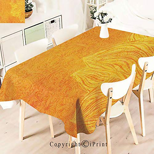 Party Decorations Polyester Tablecloth,Tribal Grunge Motifs Nature Theme with,Waterproof Stain Resistant Table Topper,W55 xL71,Orange ()