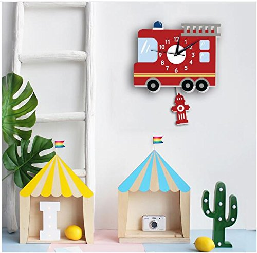 Sportskindom American fire truck wall clock Slient quartz wall clock children's background wall cartoon decoration (1) by Sportskindom (Image #2)
