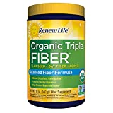 Renew Life - Organic Triple Fiber - dietary fiber powder -  constipation relief - digestive health - 12 ounces