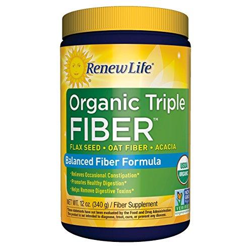 Acacia Fiber Supplements (Renew Life - Organic Triple Fiber powder - constipation relief - digestive health - 12 ounces)