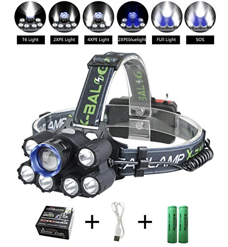 XULUOQI LED Headlamp, Headlamp Flashlight USB Rechargeable - Waterproof and Comfortable Headlight 8000 Lumens 7-Lamp 6 Mode Super Bright Outdoor Camping Fishing Headlamp