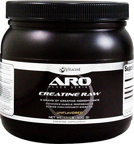 ARO-Vitacost Black Series Creatine Raw Micronized Unflavored, 5 grams, 1.1 Pound 500 Gram