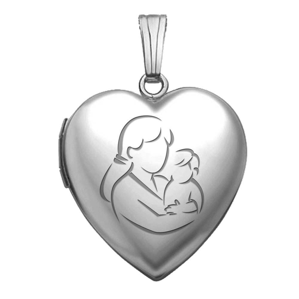 PicturesOnGold.com Sterling Silver Mom and Son Heart Locket - 3/4 Inch X 3/4 Inch