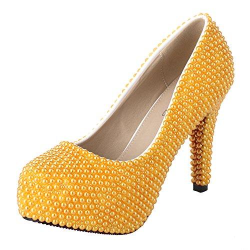 blue bridesmaid dress yellow shoes - 2