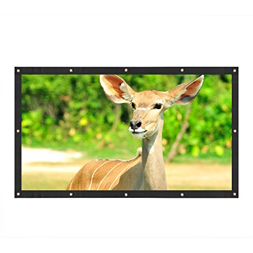 Portable Projector Screen, 60/72/100/120' 16:9 Aspect Ratio Movie Screen with Hanging Holes for Outdoor and Indoor Projecting(120inch)