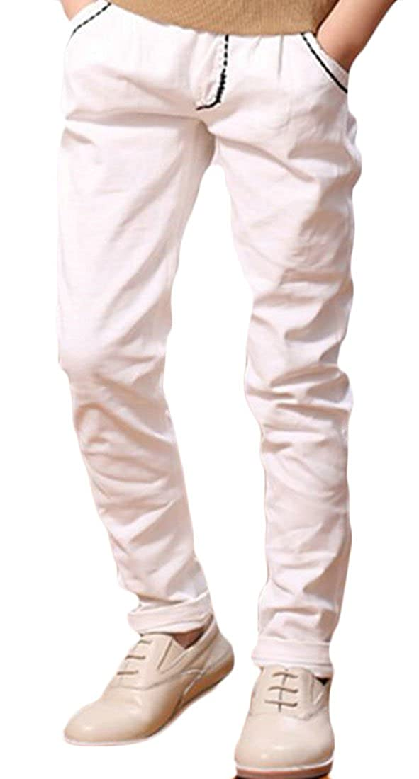 XiaoTianXin-childrens-costumes XTX Boy Cotton Solid Color Elastic Wasit Slim Fit Summer Curling Open Bottom Pants