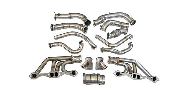 cxracing Twin Turbo encabezado Manifold Downpipe Kit para 63 - 67 Chevelle Nova SBC V8: Amazon.es: Coche y moto