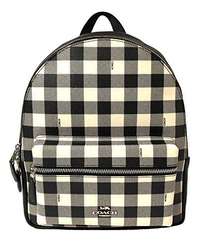 (Coach Medium Charlie Signature Leather Backpack (Black Multi) )