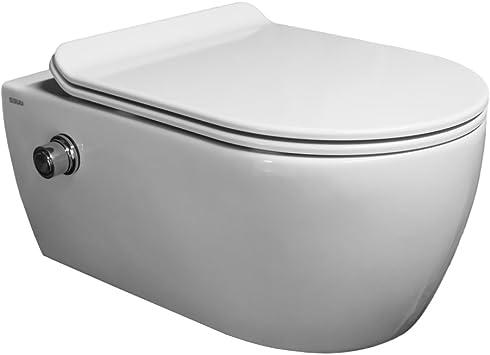 SSWW Taharet WC sans bord avec robinet et syst/ème de fixation ultra plat Softclose et douche intime avec fonction bidet Shattaf
