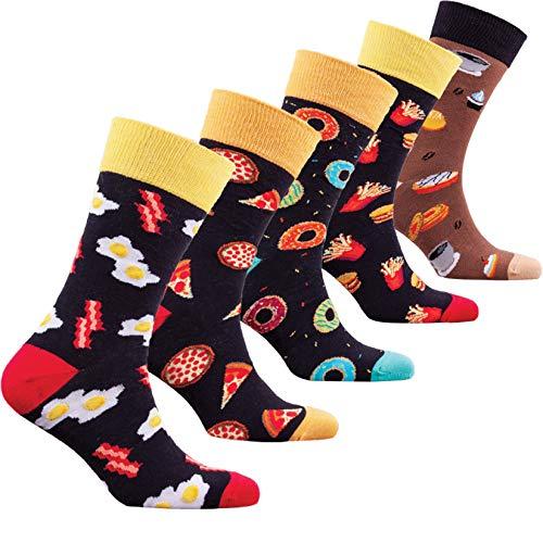 Socks n Socks-Men 5 pk Colorful Cotton Novelty Fast Food Coffee Sock Gift Box (Food Design)