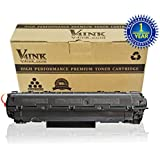 1 Pack V4INK Canon 128 Toner Cartridge Non OEM - New Compatible Canon 128 (3500B001AA)/HP CE278A 78A Toner Cartridge-Black
