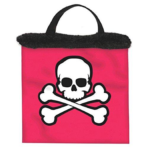 (Pink Skull & Crossbones Fabric Treat Bag w/Marabou)
